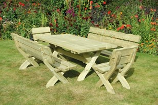 Country style table, bench & chair Image